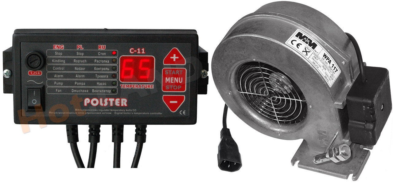Комплект автоматики POLSTER C-11 (ATOS) + вентилятор WPA120 для котла