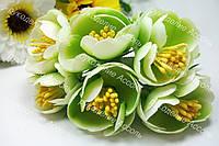 Декоративные цветы пиона в зелёных тонах 3.5-4см уп/3 цветка