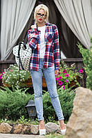 Яркая женская рубашка в клетку 46-52 размеры, фото 1