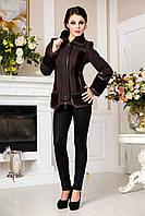 Молодежная коричневая  куртка В - 734 Вар. шерсть Тон 1