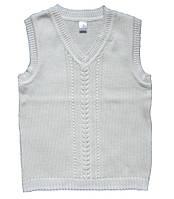 Школьный хлопковый жилет для мальчика, рост 122-128 см (молочный цвет)