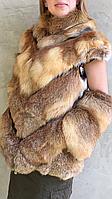 Женский жилет из меха рыжей лисы с рукавом 3/4, фото 1