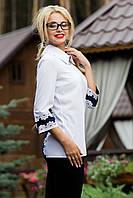 Белая блузка с оригинальной спинкой и рукавами 44-50 размеры, фото 1