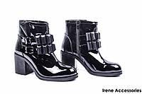 Женские ботильоны лаковые Tucino (ботинки стильные, байка)