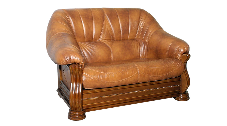 """Двухместный кожаный диван """"Монарх"""" (155 см)"""