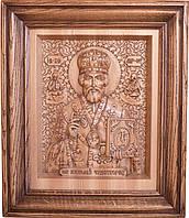 Резная икона из натурального дерева Николай Чудотворец