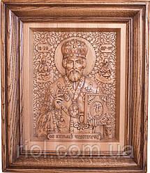 Різьблена ікона з натурального дерева Микола Чудотворець