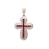 Золотой крест с бриллиантами и рубинами
