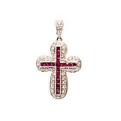 Золотой крест 750 проба с бриллиантами и рубинами
