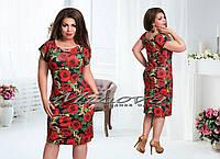 Элегантное черное с красными розами платье средней длинны батальное