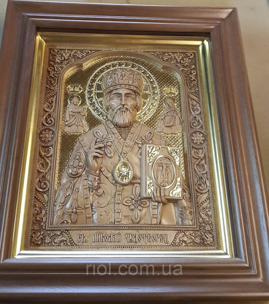 """Резная икона с сусальным золотом """"Николай Чудотворец""""  + киот"""