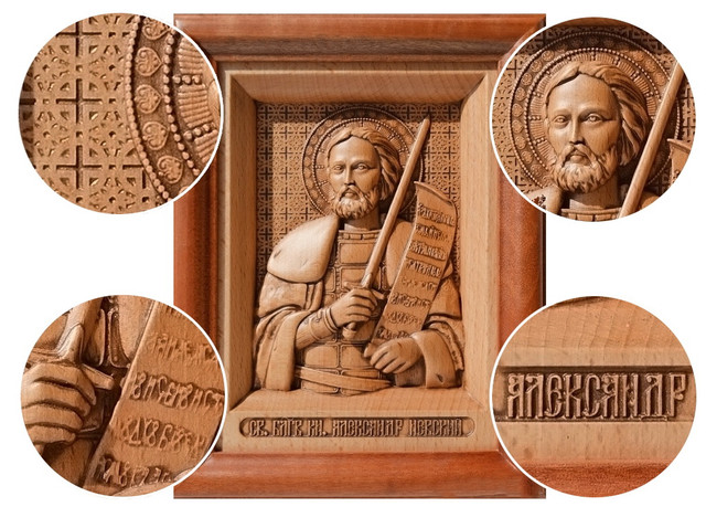 икона резная деревянная александра невского