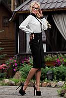Классическая черная юбка ниже колен из итальянской костюмной ткани 44-50 размеры