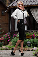 Классическая черная юбка ниже колен из итальянской костюмной ткани 44-50 размеры, фото 1
