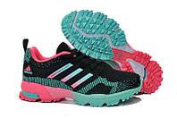 Женские беговые кроссовки Adidas Marathon Flyknit (адидас маратон, адидас марафон) черные 39
