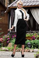 Классическая черная юбка длины миди 44-52 размеры, фото 1