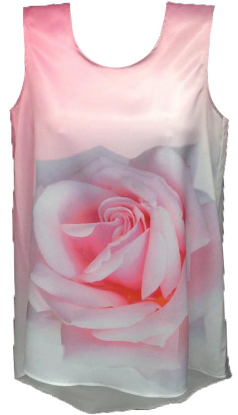 ТНК-043. Туніка жіноча з принтом Біло-рожева троянда
