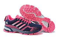 Женские беговые кроссовки Adidas Marathon 13 (адидас маратон, адидас марафон) розово-синие