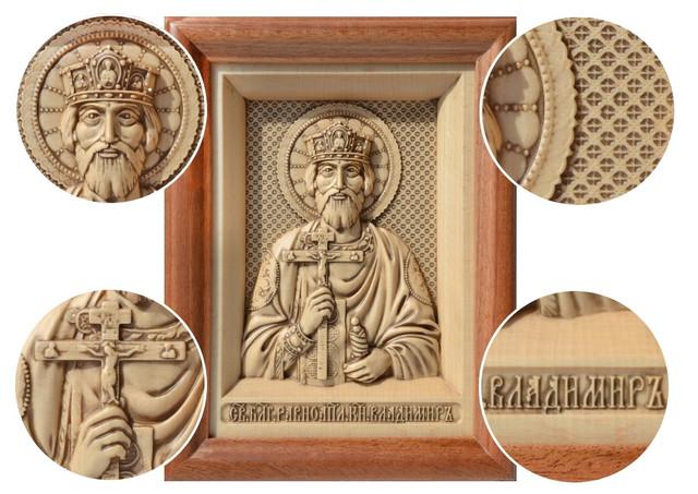 икона резная деревянная святого князя владимира
