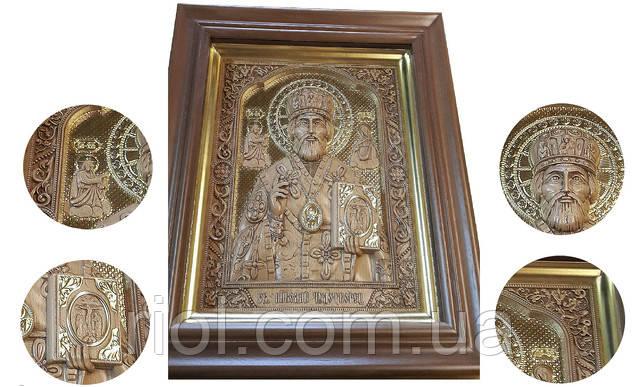 икона Николай чудотворец в золоте