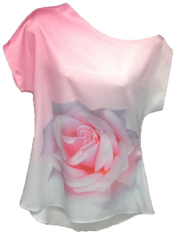 ТНК-044. Туніка жіноча з принтом Біло-рожева троянда