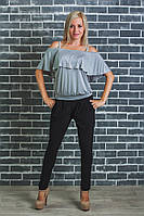 Костюм женский с блузкой серый