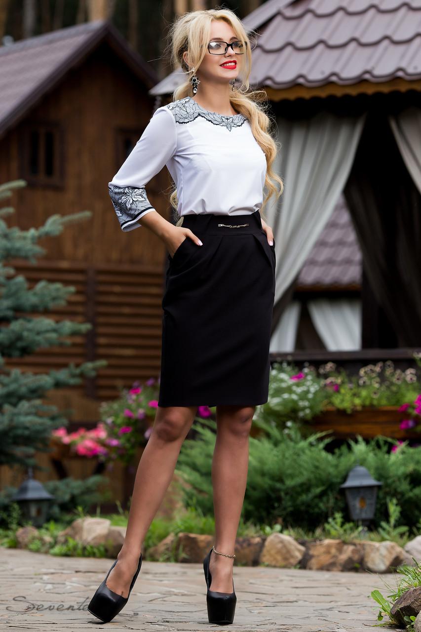 Классическая черная юбка ниже колен в деловом стиле 42-48 размеры, фото 1