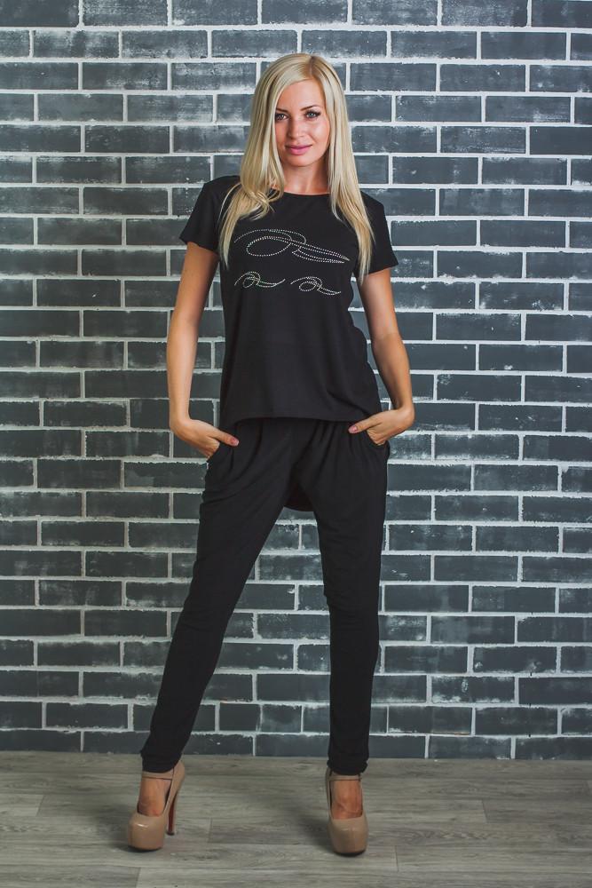 Стильная  женская футболка черная