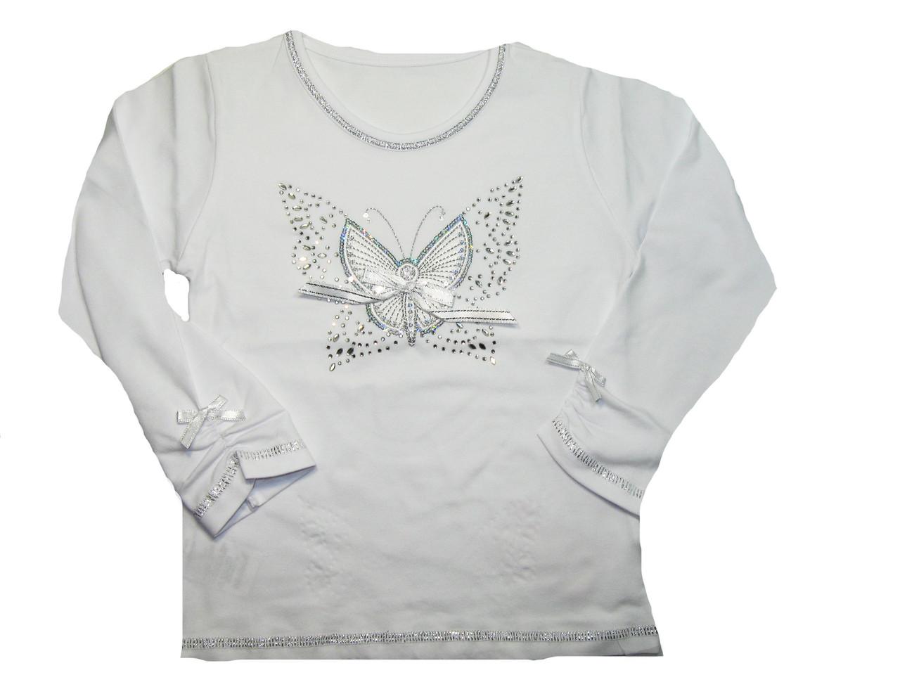 Реглан белый для девочек оптом, размеры 104,110,116,122, арт. 5566