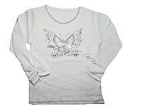 Реглан белый для девочек оптом, размеры 104,110,116,122, арт. 5566, фото 1