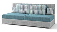 Диван Прайм механизм трансформации поворотный серо-голубой (полосатые подушки)