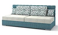 Диван Прайм механизм трансформации поворотный серо-голубой (подушки крупные цветы)