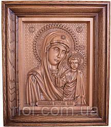 Икона резная Казанской Божией Матери из натурального дерева
