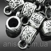 Бейл в Тибетском Стиле, Металл, Рондель, Цвет: Античное Серебро, Размер: 11х6х7мм, Отверстие 3мм и 4мм, (УТ0002309)