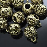 Бейл Бочонок, Тибетский Стиль, Металл, Цвет: Античное Золото, Размер: 11х8х8мм, Отверстие 1мм и 3мм, (УТ000218