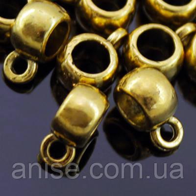 Бейл Круглий, Метал Тибетська Стиль, Колір: Античне Золото, Розмір: 9х6х4мм, Діаметр всередині 3.8 мм, Отв-чійо 1.