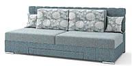 Диван Прайм механизм трансформации поворотный серый, подушки крупными цветами