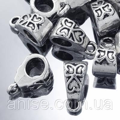 Бейл Тибетский Стиль, Металл, Цвет: Античное Серебро, Размер: 9х8х6мм, Отверстие 2мм, (УТ0002185)