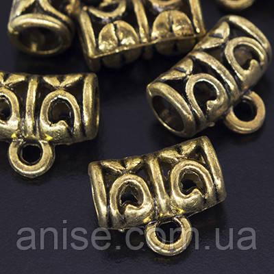 Бейл Металлический Трубка, Цвет: Античное Золото, Размер: 9х11х5мм, Отверстие 2мм, (УТ000005005)
