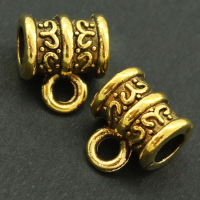 Бейл Трубка, Металл, Тибетский Стиль, Цвет: Античное Золото, Размер: 10х9х6мм, Отверстие 2мм и 4мм, (УТ000007873)