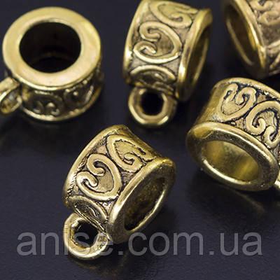 Бейл Трубка, Металл Тибетский Стиль, Цвет: Античное Золото, Размер: 8.5х6мм, Диаметр внутри 5мм, Отв. 2мм, (УТ000003922)