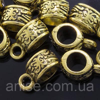 Бейл Трубка, Металл, Тибетский Стиль, Цвет: Античное Золото, Размер: 11х5х6мм, Отверстие 2мм и 4мм, (УТ0002071)