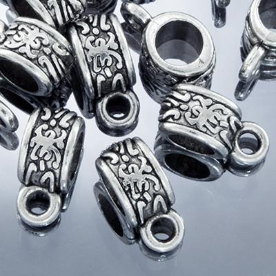 Бейл Трубка, Металл, Тибетский Стиль, Цвет: Античное Серебро, Размер: 11х5х6мм, Отверстие 2мм и 4мм, (УТ0002072)