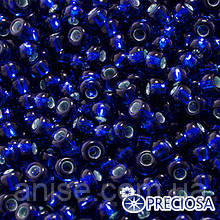 Бисер Preciosa 10/0 цв. 37080, Прозрачный с серебряной полосой TSL, Синий, Круглый, (УТ0003687)