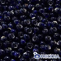 Бисер Preciosa 10/0 цв. 37110, Прозрачный с серебряной полосой TSL, Синий, Круглый, (УТ0003691)