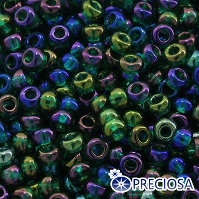 Бисер Preciosa 10/0 цв. 51060, Прозрачный радужный TR, Зеленый, Круглый, (УТ0002472)