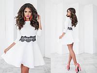 Платье женское белое с кружевом ТК/-1042