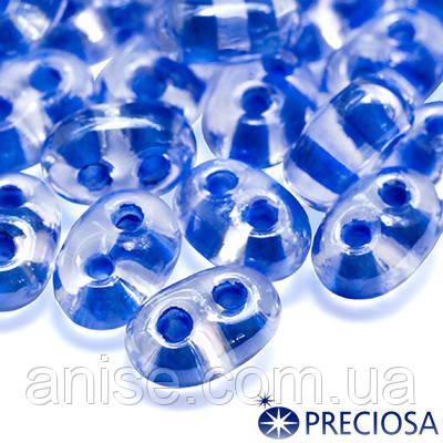 Бисер Preciosa Twin 38638, Прозрачный Окрашенный Внутри, Размер: 2,5х5мм, Цвет: Синий (УТ0016922)