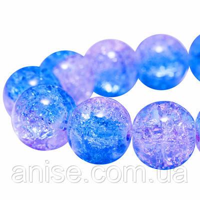 """Бусины """"битое стекло"""" Двухцветные, Круглые, Цвет: Голубой, Диаметр: 10мм, Отверстие 2мм, около 80шт/нить, (УТ0005844)"""