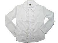 Рубашка нарядная белая для девочек, размеры 134,140,,152,158,164 арт. 5567